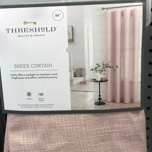 """NWT Threshold 84"""" sheer curtain w/attached rings"""